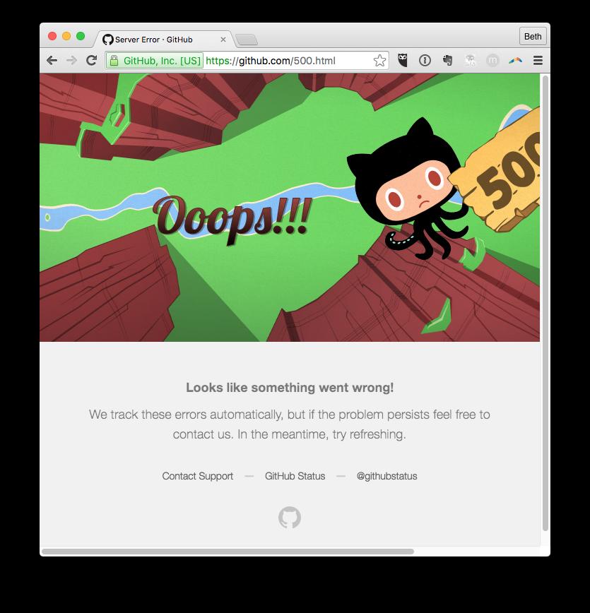 GitHub 500 Error