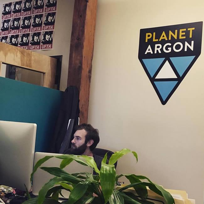 Planet Argon - logo v3 on wall